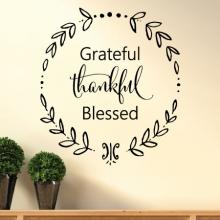 Grateful Thankful Blessed wreath wall quotes vinyl decal thanksgiving home entry welcome family love