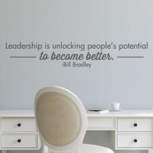 Leadership is unlocking people's potential to become better - Bill Bradley wall quotes vinyl lettering wall decal home decor office professional management leader