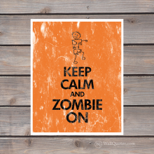 keep calm and zombie on print