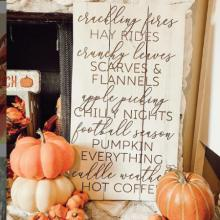 crackling fires hay rides crunchy leaves scarves & flannels apple picking chilly nights football season pumpkin everything cuddle weather hot coffee wall quotes vinyl lettering wall decal home decor vinyl stencil fall autumn seasonal