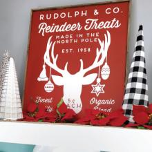 Rudolph & Co. Reindeer Treats Made in the north pole est 1958 finest quality organic blend 5¢ each wall quotes vinyl lettering wall decal home decor vinyl stencil vintage sign christmas holiday seasonal xmas