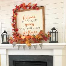 Autumn is a second spring when every leaf is a flower wall quotes vinyl lettering wall decal home decor vinyl stencil seasonal fall leaves