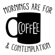Mornings are for coffee and contemplation wall quotes vinyl lettering wall decal home decor coffee bar drink cup caffeine