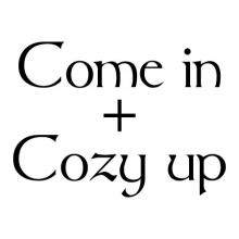 Come in + cozy up wall quotes vinyl lettering wall decal welcome entry entryway home cuddle