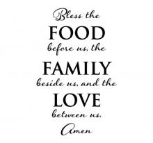 Bless the food before us, the family beside us, and the love between us. Amen wall quotes vinyl wall decal religious prayer kitchen dining room