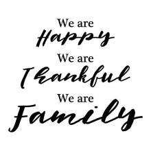We are happy. We are thankful. We are family wall quotes vinyl lettering wall decal fall thanks give thanks happy family