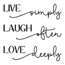Live simply laugh often love deeply wall quotes vinyl lettering wall decal home decor live laugh love script