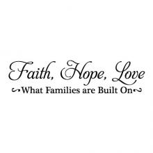 Faith Hope Love What families are built on wall quotes vinyl lettering wall decal home decor vinyl stencil family home wedding love marriage
