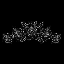 set of 5 hibiscus flowers decals