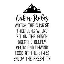 Cabin Rules / Watch the Sunrise / Take Long Walks / Sit on the Porch / Breathe Deeply / Relax and Unwind / Look at the Stars / Enjoy the Fresh Air wall quotes vinyl lettering wall decal home decor lake house beach vacation rustic nature