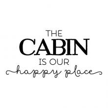 The cabin is our happy place wall quotes vinyl lettering wall decal home decor tree rustic nature