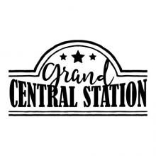 Grand Central Station double line frame and stars wall decal home decor vinyl lettering wall quotes entryway train station busy house vintage rustic farmhouse