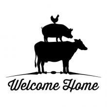 Welcome Home {chicken pig cow} wall quotes vinyl lettering wall decal home decor vinyl stencil hello farm farmhouse style vintage rustic
