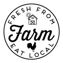 Fresh from the farm eat local {barn and rooster} wall quotes vinyl lettering wall decal home decor farmhouse vintage rustic