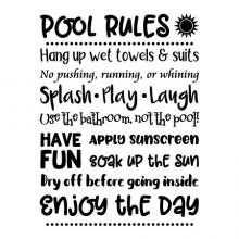 Pool Rules Hang up wet towels & suits No pushing, running, or whining Splash Play Laugh Use the bathroom, not the pool! Have fun apply sunscreen soak up the sun dry off before going inside enjoy the day wall quotes vinyl lettering wall decal vinyl stencil