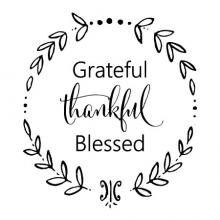 Grateful Thankful Blessed in wreath, home, entry, thanksgiving, wreath, wall quotes vinyl wall decal