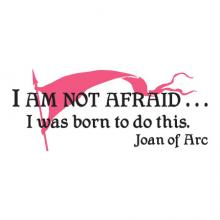 I AM NOT AFRAID. I was born to do this. Joan of Arc. banner pike female power wall quotes wall art vinyl decal girl power heroine hundred years war