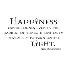 Happiness can be found, even in the darkest of times, if only one remembers to turn on the light. -Albus Dumbledore