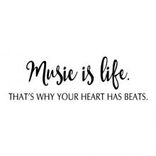 Music is Life. That's why your heart has beats radio band wall quotes vinyl decal music room decor classroom piano instruments