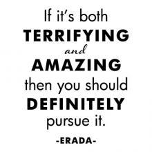 If it's both terrifying and amazing then you should definitely pursue it. -Erada- motivation motivational inspiration life goals