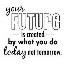 Your future is created by what you do today not tomorrow inspiration motivation wall quotes vinyl decal plan ahead be productive