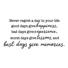 Never regret a day in your life: good days give happines, bad days give experience, worst days give lessons, and best days give memories wall quotes vinyl lettering wall decal regrets no regrets every day to its fullest