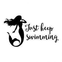 Just keep swimming with mermaid wall quotes vinyl lettering wall decal ocean sea creature mythical fantasy