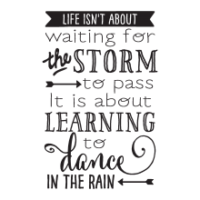 life ins't about waiting for the storm to pass it's about learning to dance in the rain