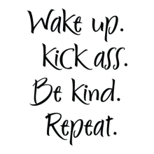 Wake up . Kick Ass. Be kind. Repeat.
