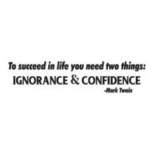 To succeed in life you need two things: ignorance & confidence - Mark Twain wall quotes vinyl lettering wall decal author literature book library