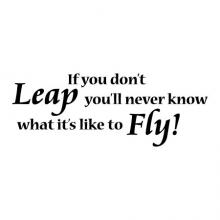 If you don't leap you will never know what it's like to fly! wall quotes vinyl lettering wall decal home decor take a chance what if you fly