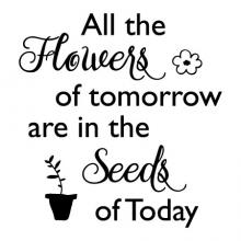 All the flowers of tomorrow are in the seeds of today wall quotes vinyl lettering wall decal home decor garden flower flowerpot plants gardening inspirational