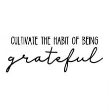 Cultivate the habit of being grateful wall quotes vinyl lettering wall decal home decor garden gardening thankful blessed