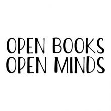 Open books open minds wall quotes vinyl lettering wall decal home decor vinyl stencil read reading book library book shelf reading nook