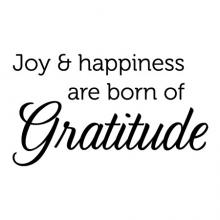Joy and Happiness are born of gratitude wall quotes vinyl lettering wall decal home decor vinyl stencil happy with what you have grateful thankful