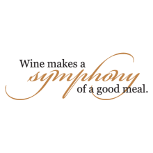 Wine makes a symphony of a good meal wall quotes decal