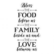 Bless the food before us the family beside us and the love between us wall quotes vinyl decal kitchen dining faith pray prayer religious