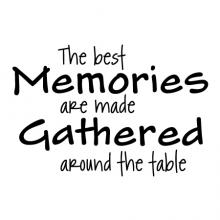 The best memories are made gathered around the table wall quotes vinyl lettering wall decal kitchen dining room eat drink dine memory