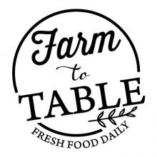 Farm to Table Fresh Food Daily wall quotes vinyl lettering wall decal home decor kitchen cook cooking check farmhouse chef