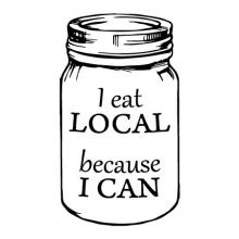 I eat local because I can wall quotes vinyl lettering wall decal home decor canned foods vintage farmhouse mason jar masonjar farm grow your own food garden