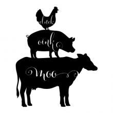 Cluck Oink Moo [rooster/pig/cow silhouettes] wall quotes vinyl lettering wall decal home decor rustic vintage farm farmhouse animal