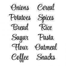 Onions Potatoes Bread Sugar Flour Coffee Cereal Spices Rice Pasta Oatmeal Snacks wall quotes vinyl lettering wall decal home decor organization labels pantry organize