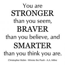 You Are Stronger Than You Seem, Braver Than You Believe, And Smarter Than You Think You Are - Christopher Robin - Winnie the Pooh - A. A. Milne wall quotes vinyl lettering wall decal home decor nursery kids child read book literature