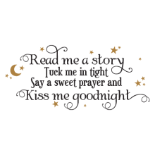 read me a story kiss me goodnight kids wall decal