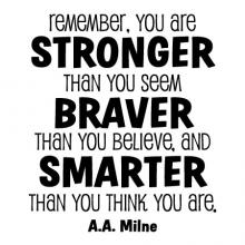 You Are Stronger Than You Seem, Braver Than You Believe, And Smarter Than You Think You Are A. A. Milne  wall quotes vinyl lettering wall decal home decor nursery kids child read book literature