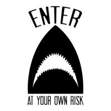 Enter At Your Own Risk wall quotes vinyl lettering wall decal shark boy decal boys quotes door ocean sea shark week