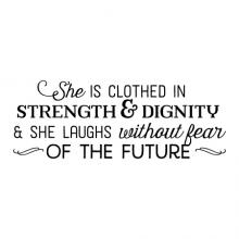 She is clothed in strength & dignity & she laughs without fear of the future wall quotes vinyl lettering wall decal home decor kids religious spiritual kids nursery