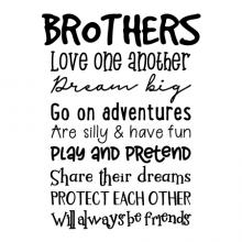 Brothers love one another dream big go on adventures are silly & have fun play and pretend share their dreams Protect each other Will always be friends wall quotes vinyl lettering wall decal home decor siblings