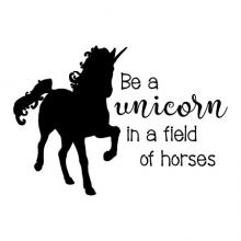 Be a unicorn in a field of horses wall quotes vinyl lettering wall decal home decor vinyl stencil magical pretend kids room play room