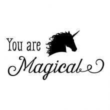 You are magical {unicorn head} wall quotes vinyl lettering wall decal home decor vinyl stencil magic play pretend playroom kids children girls girly